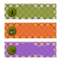 Halloween Banners sets. Purple green and orange plaid background,with witch hat, Jack o lantern and bats.