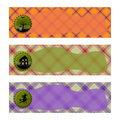 Halloween Banners sets. Purple and orange plaid background,with witch , haunted house and cemetery. Royalty Free Stock Photo