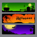 Halloween banners three magic with spiders bats and owls Royalty Free Stock Image