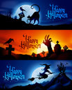 Halloween banners three scary vector replace text with your own Royalty Free Stock Images