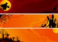 Halloween banners three with witch bats on abstract landscape of graveyard and house Royalty Free Stock Image