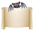 Halloween bat banner with a cartoon character above the scroll Stock Images