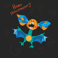 Halloween bat card hand drawn illustration of a greetings with a funny childlike cartoon over a black background with spirals Stock Photography