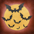 Halloween bat and moon recycled papercraft Stock Photography