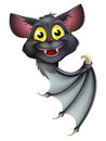 Halloween bat pointing a happy cartoon black perhaps a vampire peeking round a banner and Stock Photos