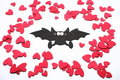 Halloween bat with small hearts Royalty Free Stock Images