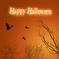 Halloween bats and trees a silhouette illustration spooky black creepy with a drippy happy greeting on a mystic Stock Photos