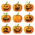 Halloween big set with pumpkins. 3d pumpkin face. Vector.