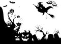 Halloween black banner witch pumpkin vampires Stock Image