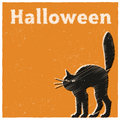 Halloween black cat card with a Royalty Free Stock Images