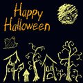 Halloween black dark background with spooky witch, moon, naked trees, haunted old house and happy halloween text. Royalty Free Stock Photo