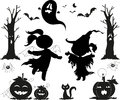 Halloween black icons for kids Stock Photos