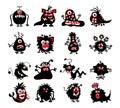Halloween black monster silhouettes. Bacteria and beast, alien devil, ghosts or demon vector illustration