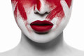 Halloween bloody makeup closeup red lips on white skin Stock Photos