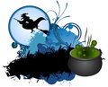 Halloween blue banner witch pumpkin vampires Stock Photos