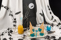 Halloween blue witches funny ice cream dessert for children Royalty Free Stock Image