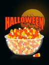 Halloween. bowl and candy corn.Moon and bat. Sweets on plate. Tr Royalty Free Stock Photo