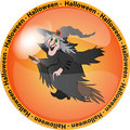 Halloween button with a witch Royalty Free Stock Photo