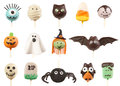 Halloween cake pops variety of isolated on white background Royalty Free Stock Photo