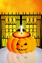 Halloween candle of in the cemetery Royalty Free Stock Photo