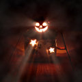 Halloween candle light on wooden floor Stock Photography