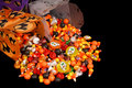 Halloween candy in chinese containers Royalty Free Stock Photo
