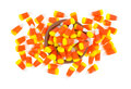 Halloween candy corn mess with bowl Royalty Free Stock Photo