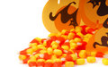 Halloween candy corn spilling out of a box Royalty Free Stock Photo