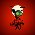 Halloween card with a bat flying Stock Photos