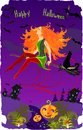 Halloween card with beautiful redheaded witch Stock Photos
