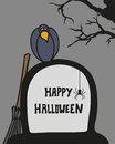 Halloween card with cemetery, grave and crow Royalty Free Stock Photo