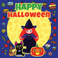 Halloween card with cute little witch black cat and pumpkin Stock Image