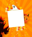 Halloween card with ghost pumpkin and monster copy space for your individual text Royalty Free Stock Photo