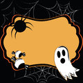 Halloween card a ghost with two candies and a spider composing a Royalty Free Stock Image