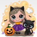 Halloween card with girl and black cat on a yellow background