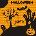 Halloween card happy with scary symbols vector illustration Stock Images