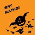Halloween card with happy smile monsters or postcard design and space for text eps vector illustration Royalty Free Stock Image