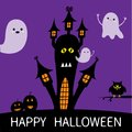 Halloween card. Haunted house silhouette with eyes, windows, pumpkins, owl and flying transparent ghost. Boo Funny Cute cartoon ba Royalty Free Stock Photo