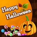 Halloween card with pumpkin and candies head leaves on pattern Stock Photography