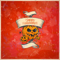 Halloween card with a pumpkins retro style eps Stock Images