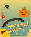 Halloween card retro in vintage style hand lettering happy vector illustration Royalty Free Stock Image