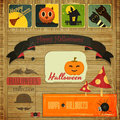 Halloween card retro in vintage style illustration Stock Photography
