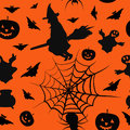 Halloween card seamless pattern background with witch pumpkin bat boiler spyder web and ghost Royalty Free Stock Photography