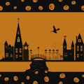 Halloween card seamless pattern background with witch pumpkin and town Stock Image
