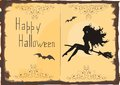 Halloween card with silhouette of beautiful witch Stock Photos