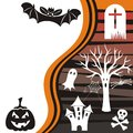 Halloween card vector with black bat and pumpkin Stock Image