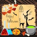 Halloween card with witch cat and fly agarics Royalty Free Stock Photos