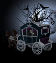 Halloween carriage background on night Royalty Free Stock Image