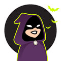 Halloween cartoon character figure wearing purple hood Stock Photography