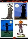 Halloween cartoon creepy themes set illustration of holiday like death grim reaper or scarecrow and pumpkin Royalty Free Stock Photo
